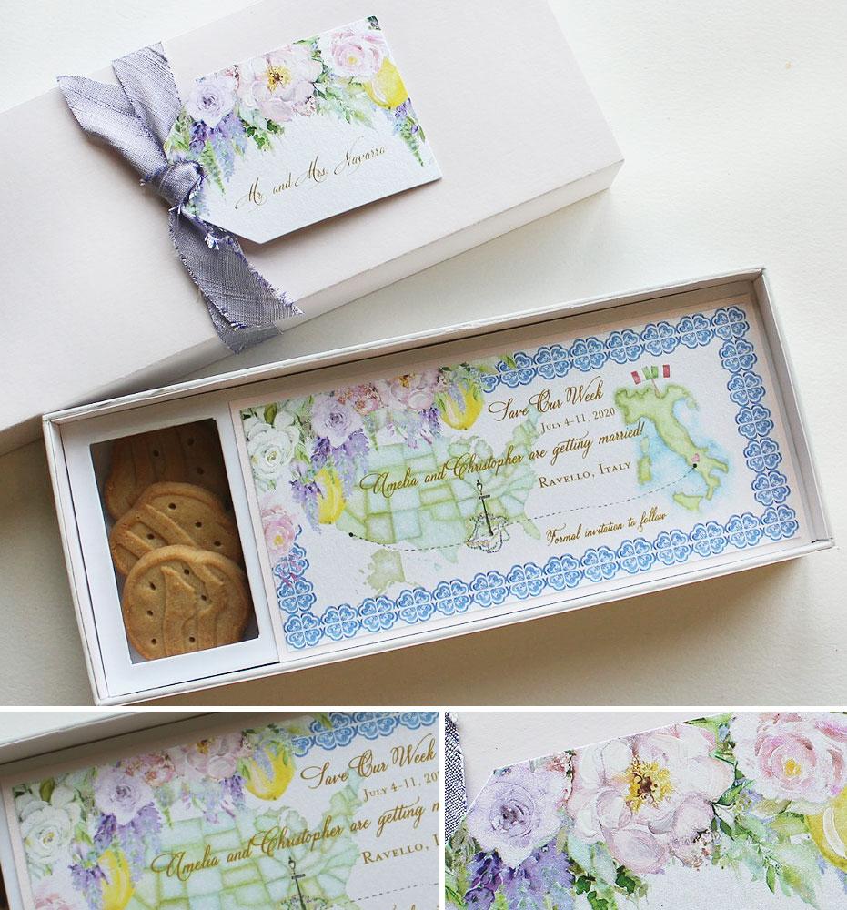 Custom Cookie Box Wedding Save the Date