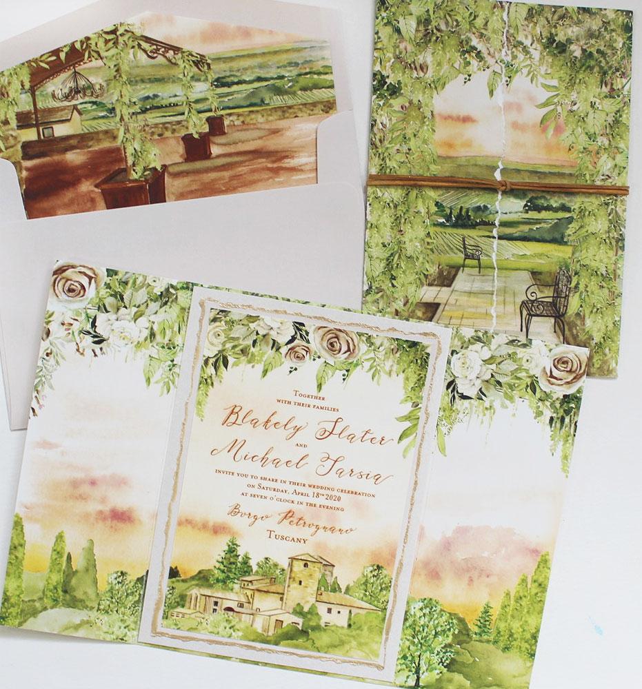 Custom Illustrated Tuscany Wedding Stationery