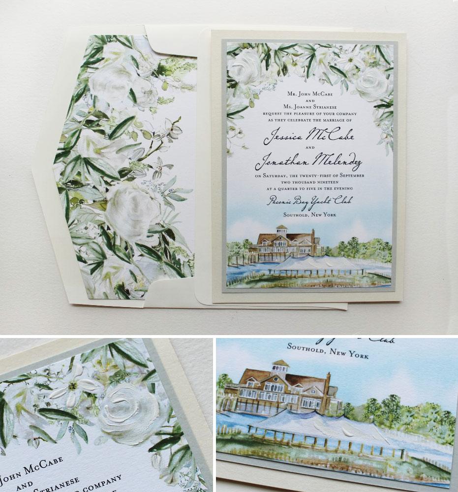 Hand Painted Custom Venue Illustration Wedding Invitations