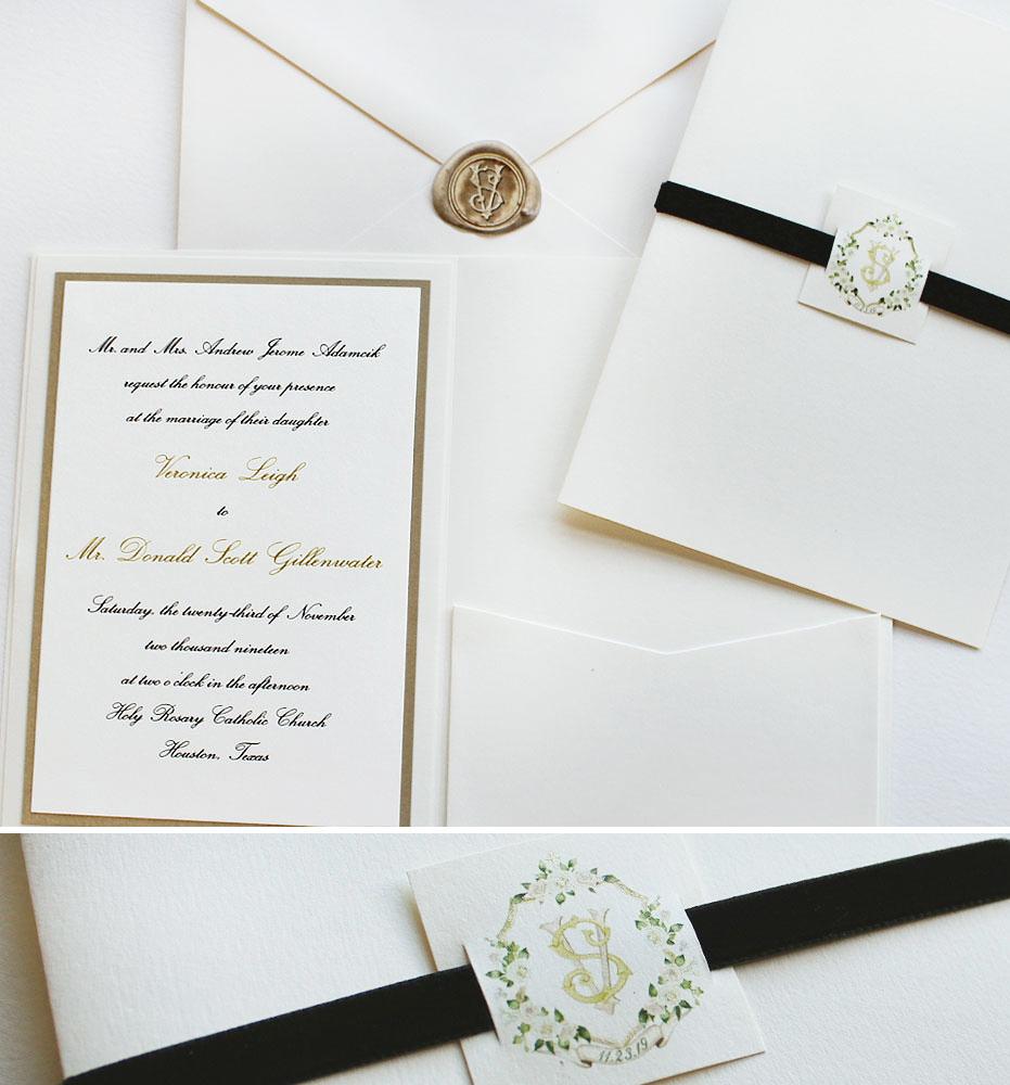 Hand Painted Monogram Wedding Stationery