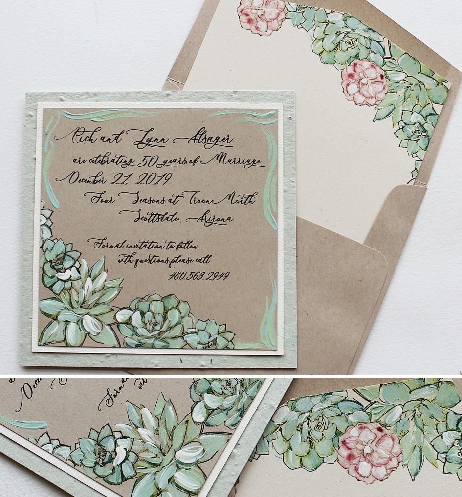 Hand Painted Succulent Anniversary Invitations