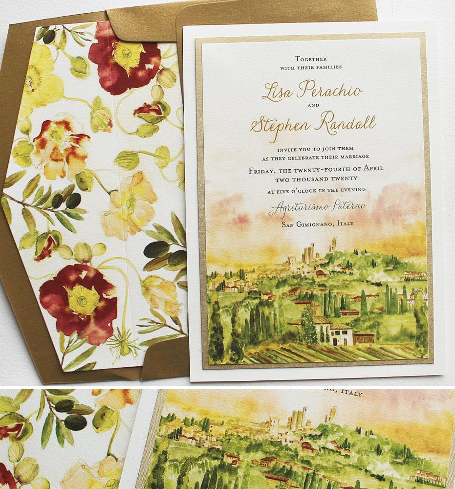 Hand Painted Tuscany Italy Wedding Stationery