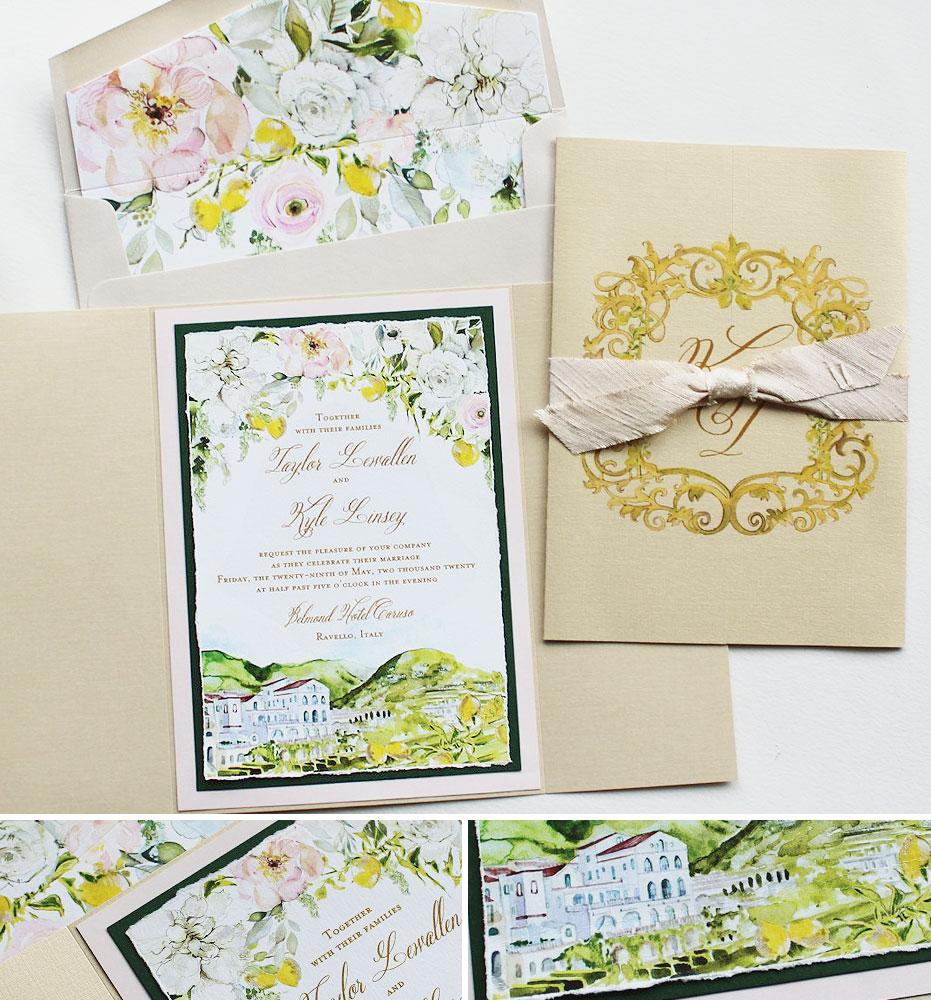 Watercolor Belmond Hotel Caruso Wedding Invitations