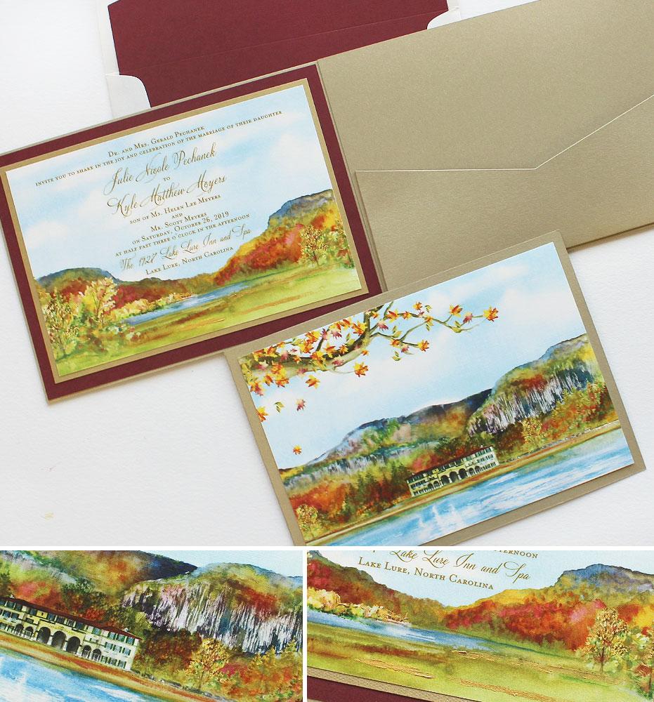 Watercolor Fall Landscape Wedding Invitations