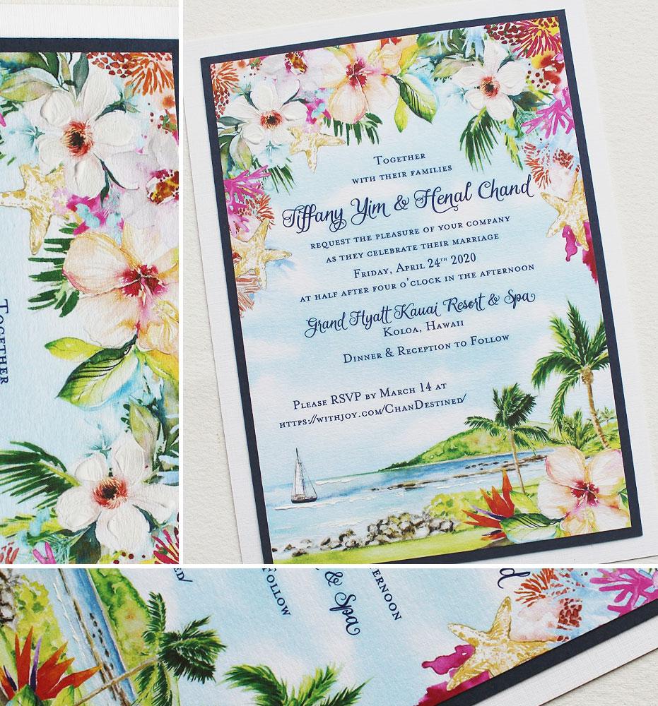 Watercolor Floral Hawaii Wedding Invitations