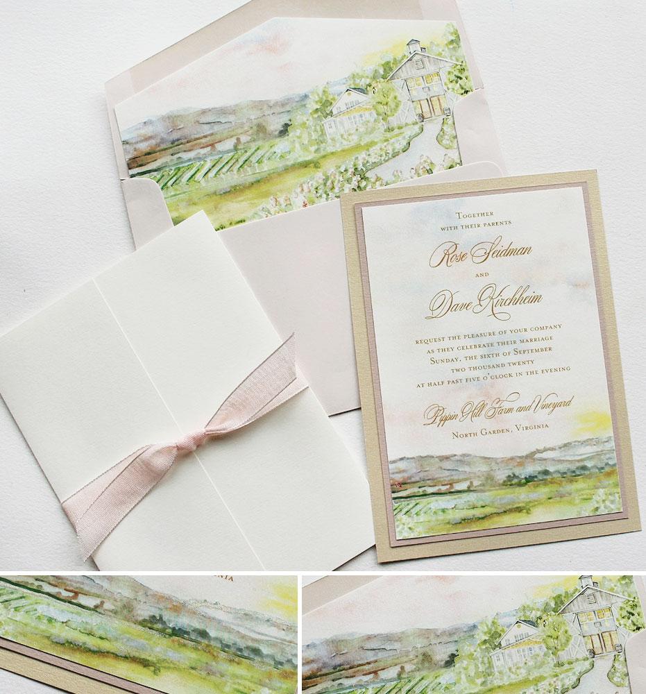 Watercolor Pippin Hill Vineyard Wedding Invitations