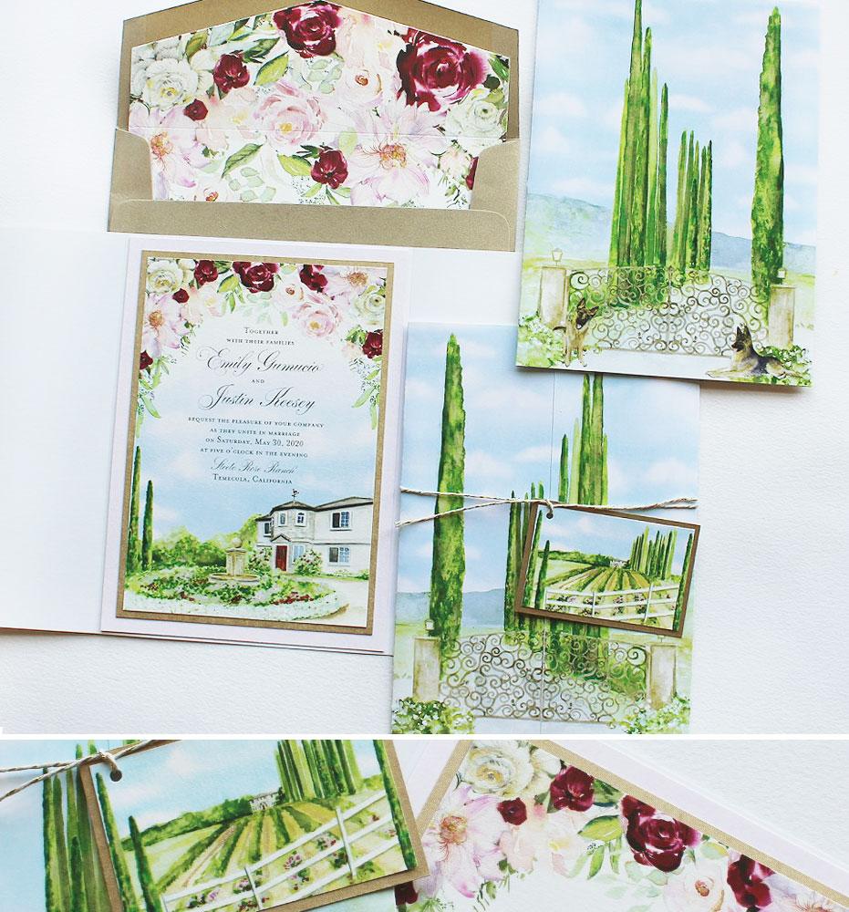 Watercolor Temecula California Wedding Invitations
