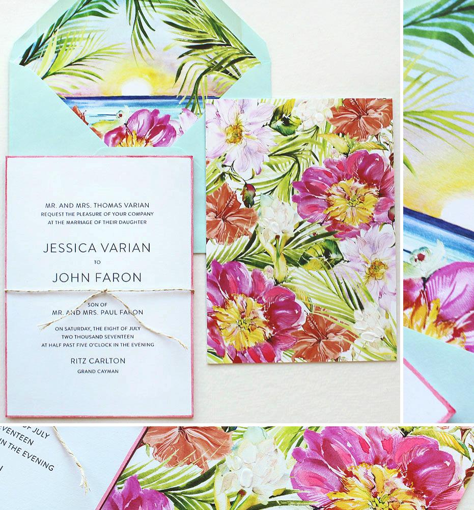 Bright Tropical Wedding Invitations