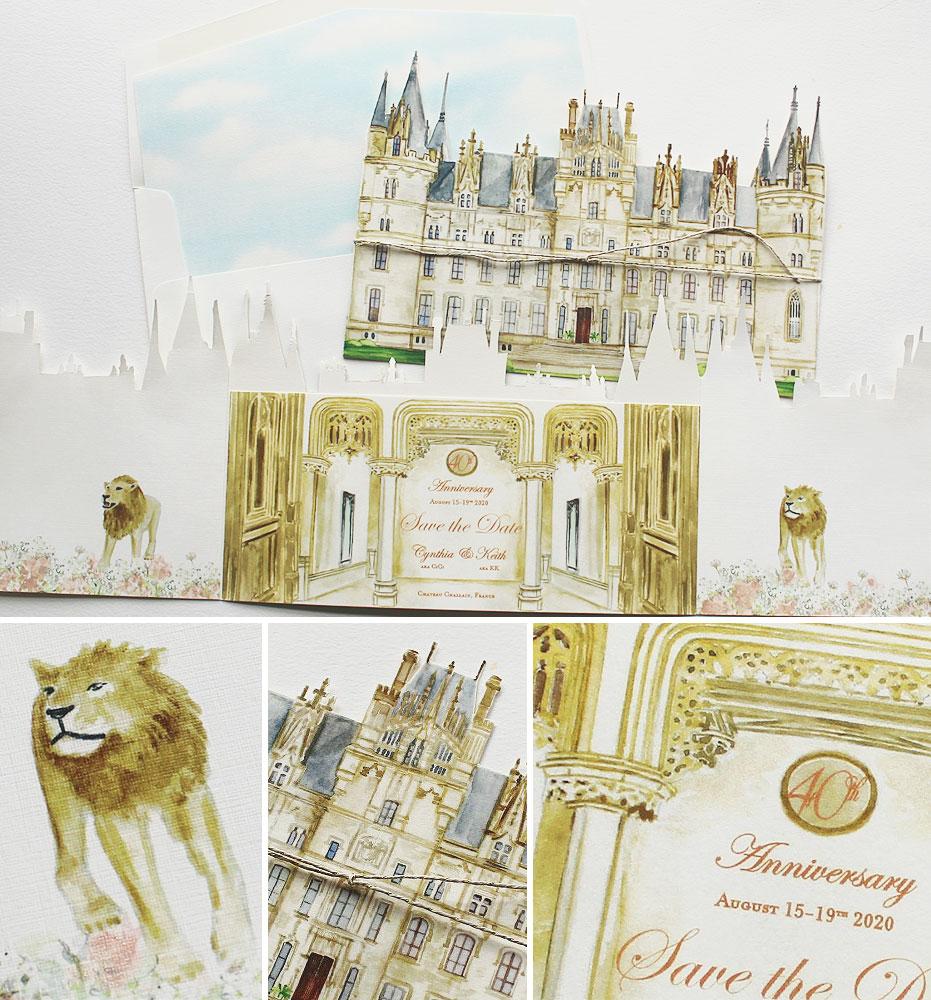 Chateau Challain Wedding Invitation