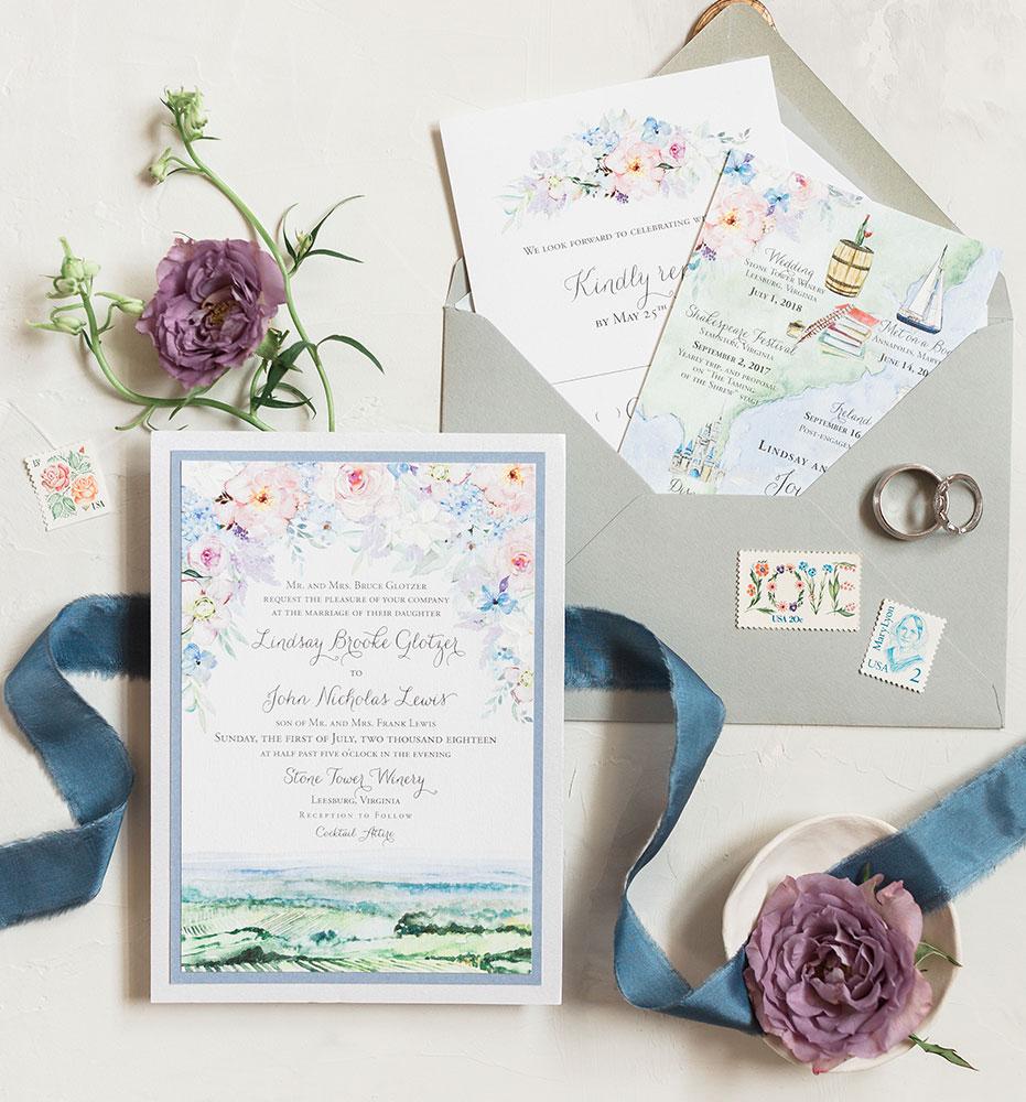 Floral Vineyard Invites