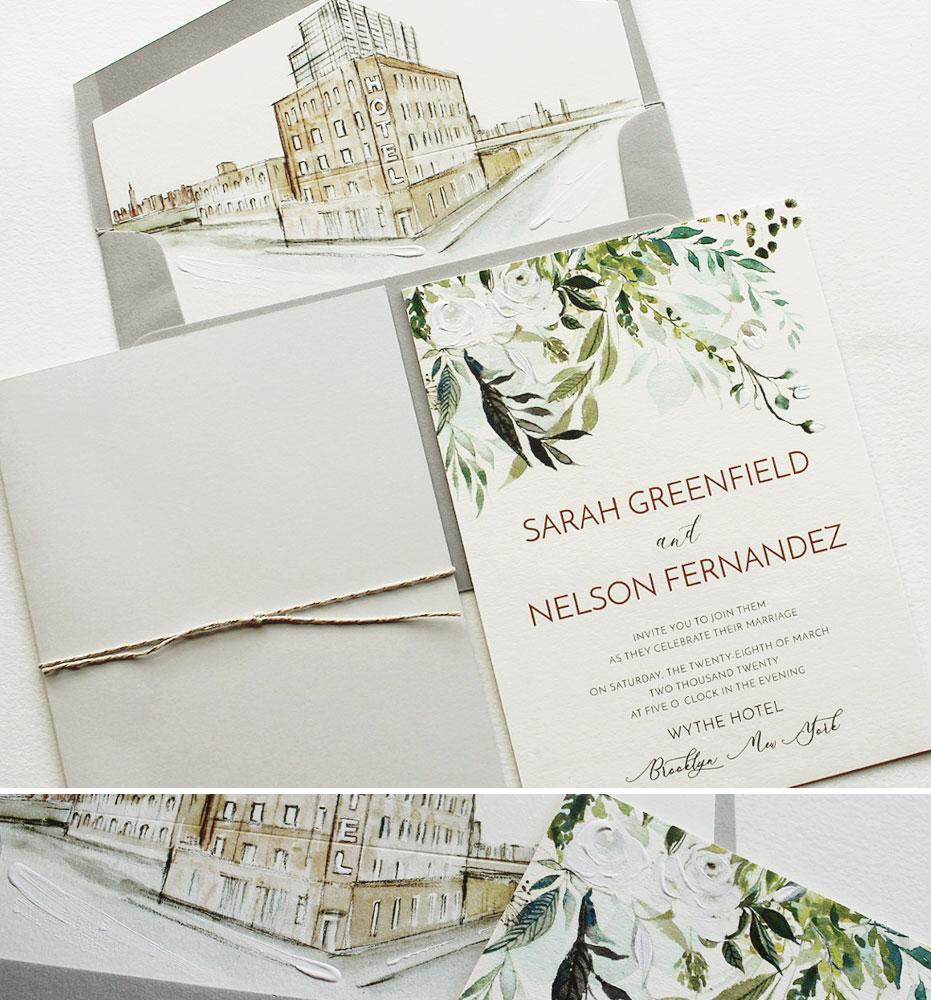 Hand Painted Botanical Wedding Invitations