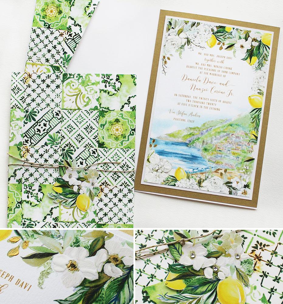 Italian Tile and Lemon Wedding Invitation
