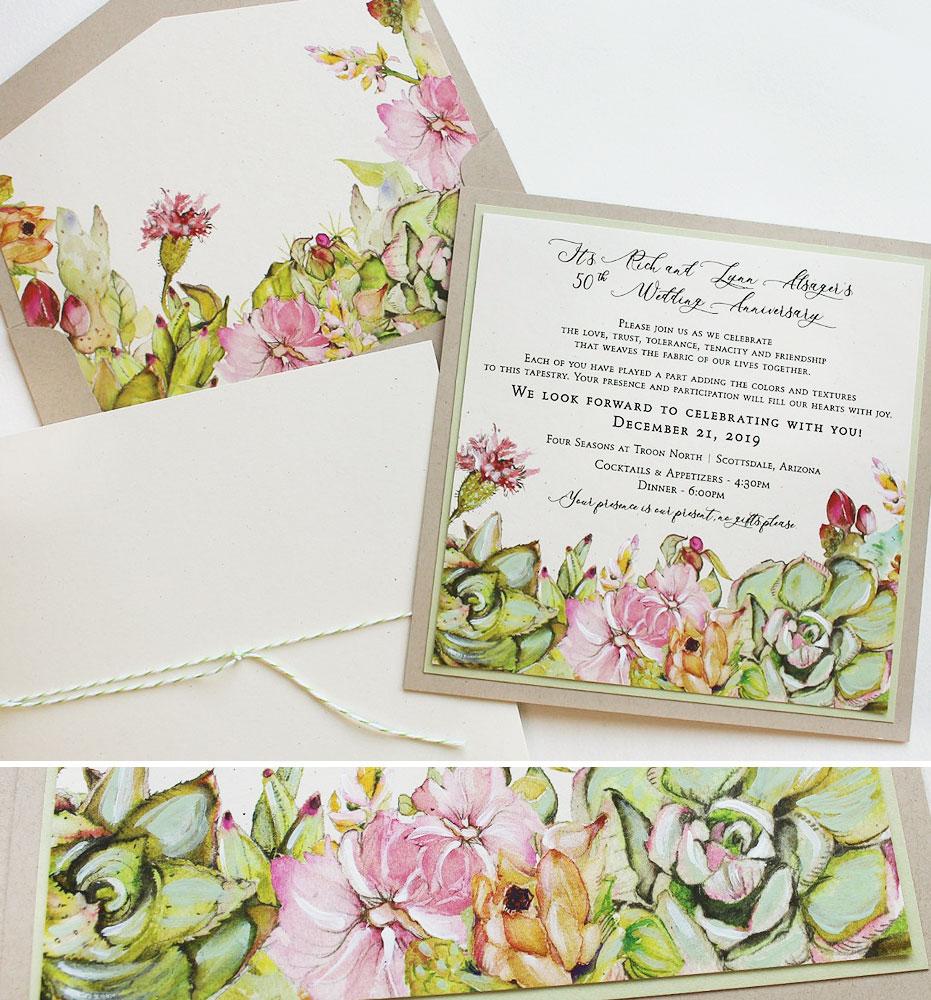 Southwest Succulent Wedding Invitations