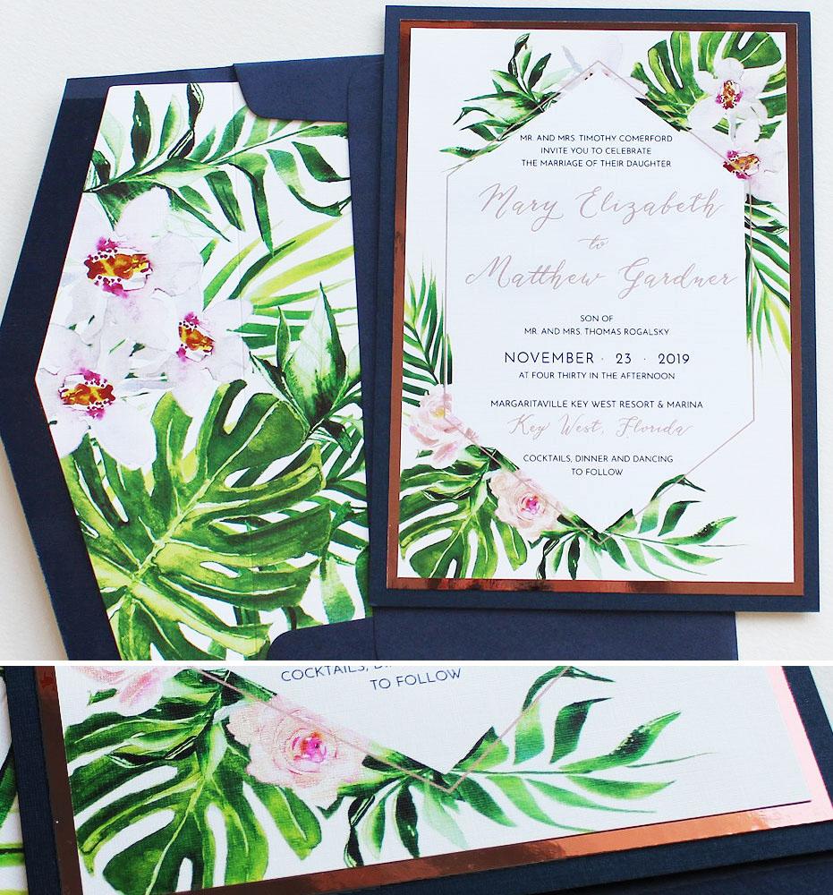 Tropical Botanical Wedding Invitations