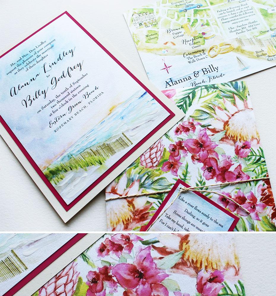 Watercolor Tropical Wedding Invites