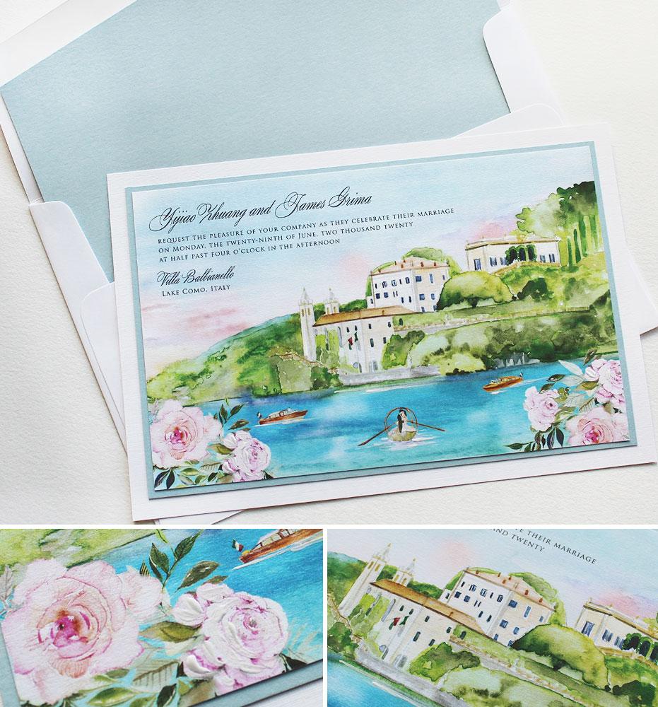 Watercolor Italy Landscape Wedding Invitations