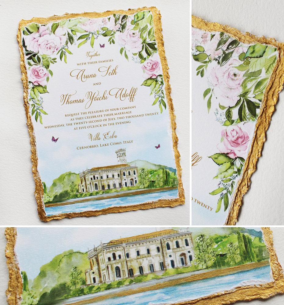 Watercolor Lake Come Wedding Invitations