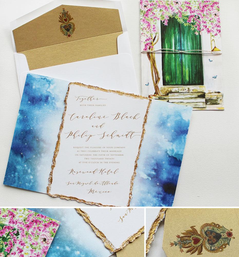 Watercolor Mexico Wedding Invitations
