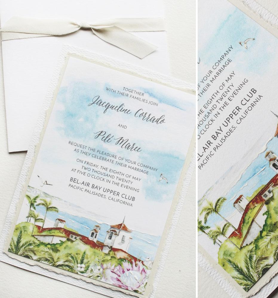 Watercolor Venue Illustration Wedding Invitation