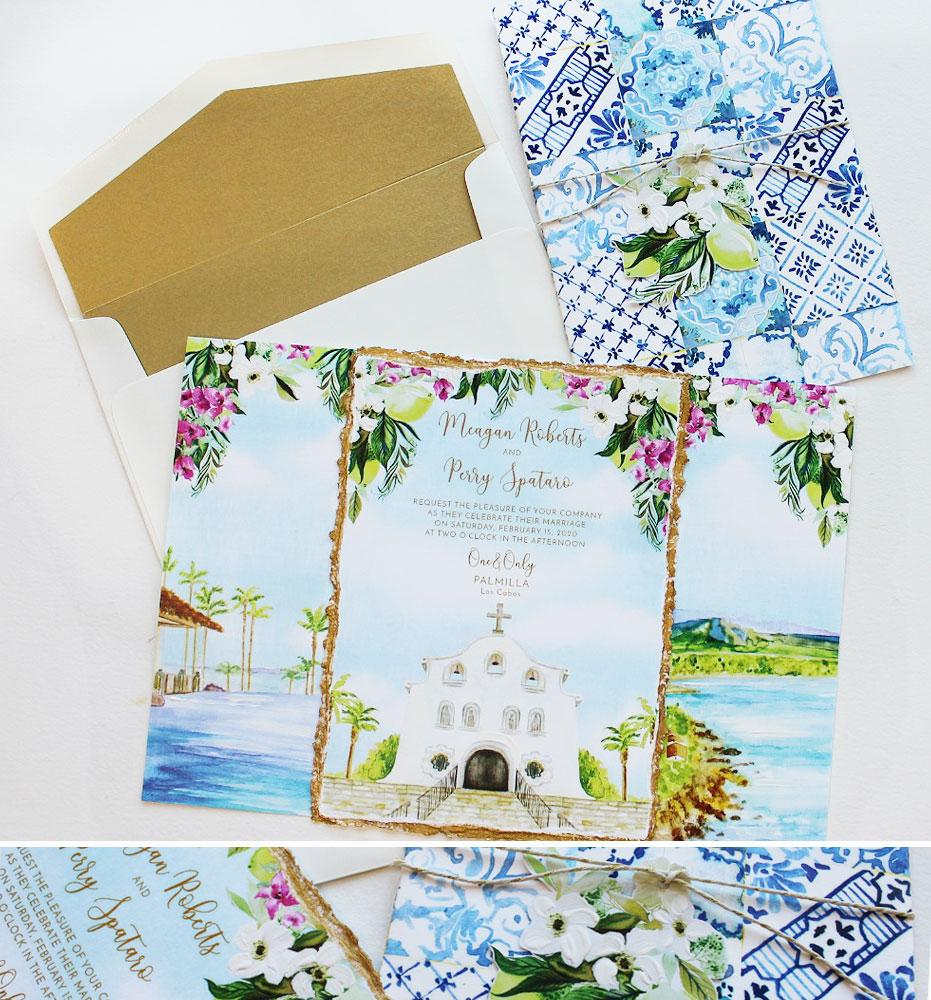 Custom Watercolor Church Venue Illustration Wedding Invitation