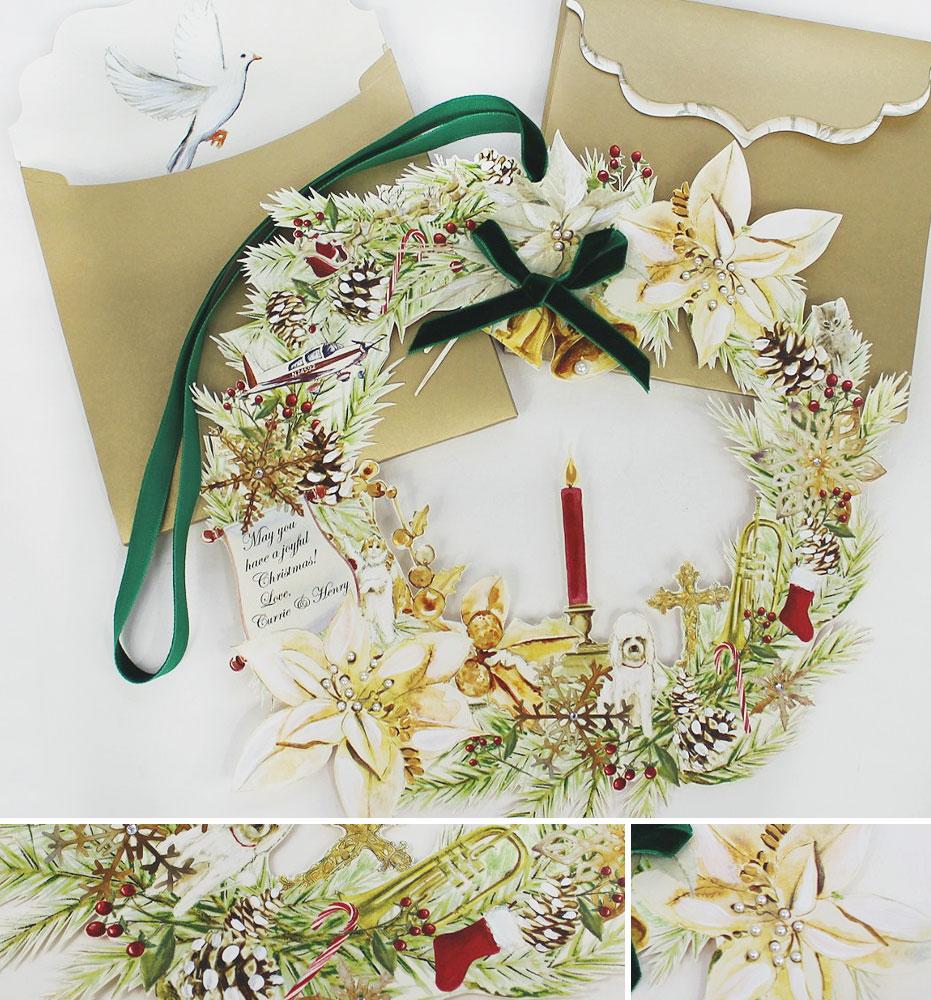 Custom Wreath Christmas Cards