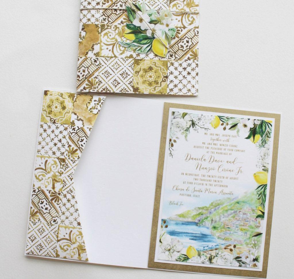 Hand Painted Positano Wedding Invitation