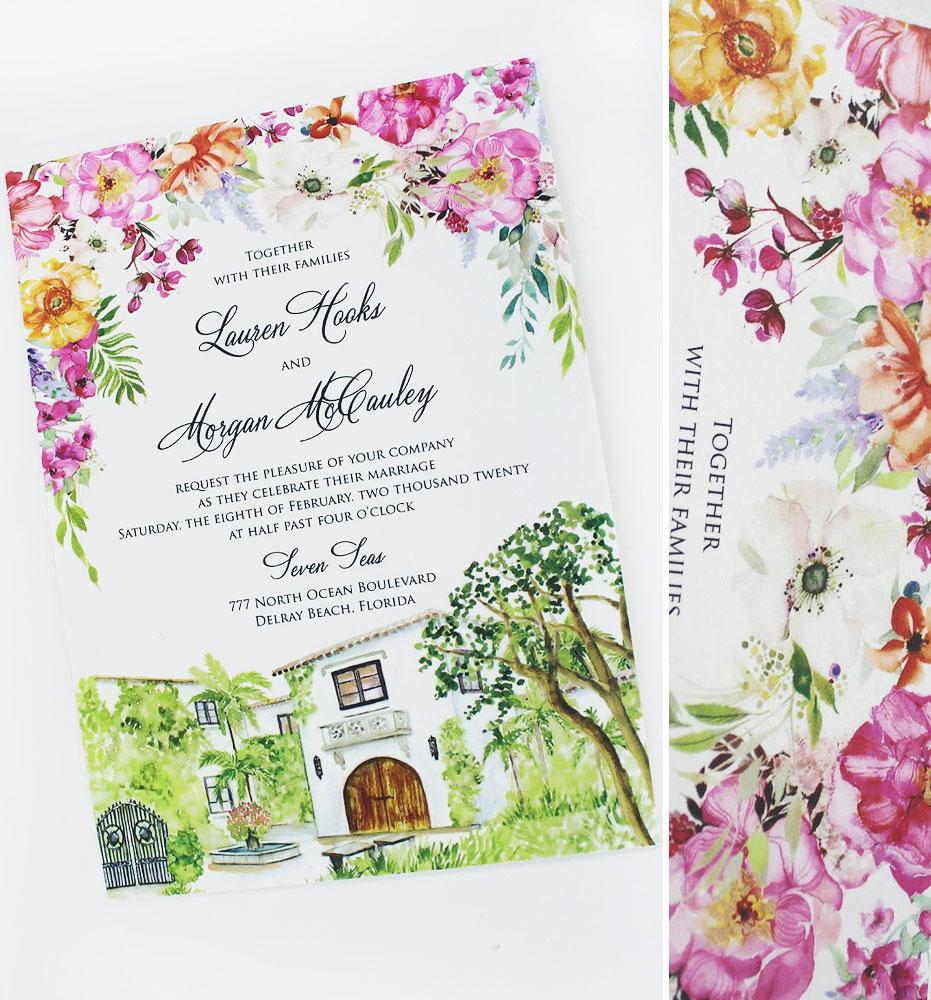 Custom Home Illustration Wedding Invitation