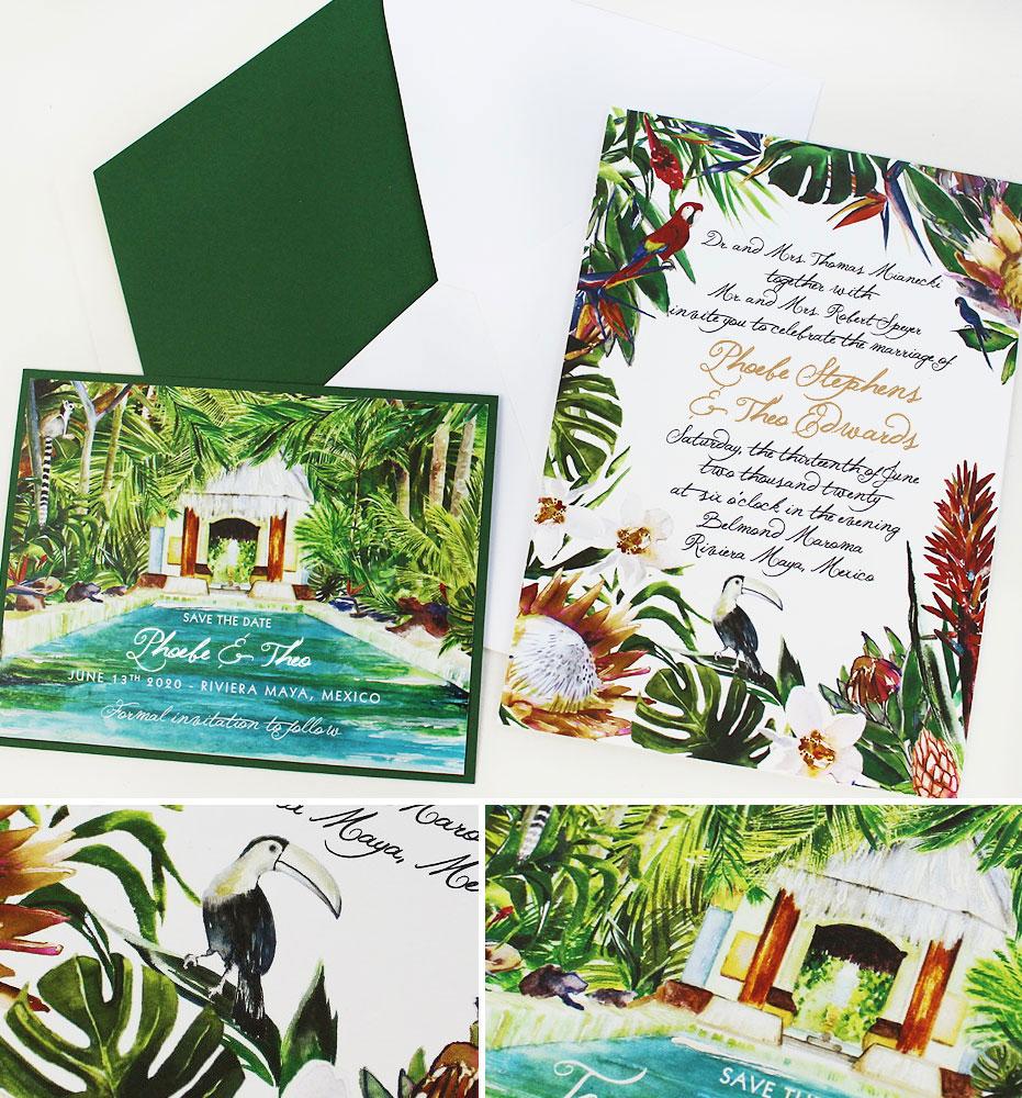 Tropical Greenery Mexico Wedding Invitations