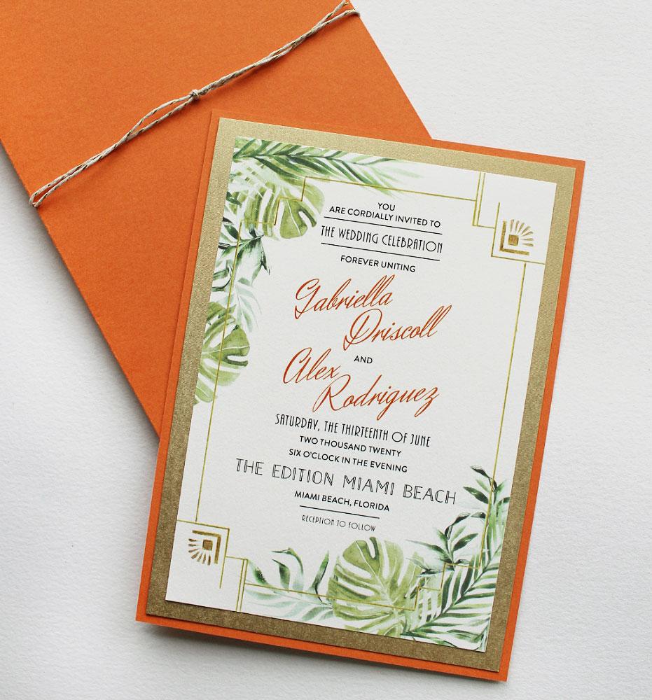 Tropical Miami Florida Wedding Invitations