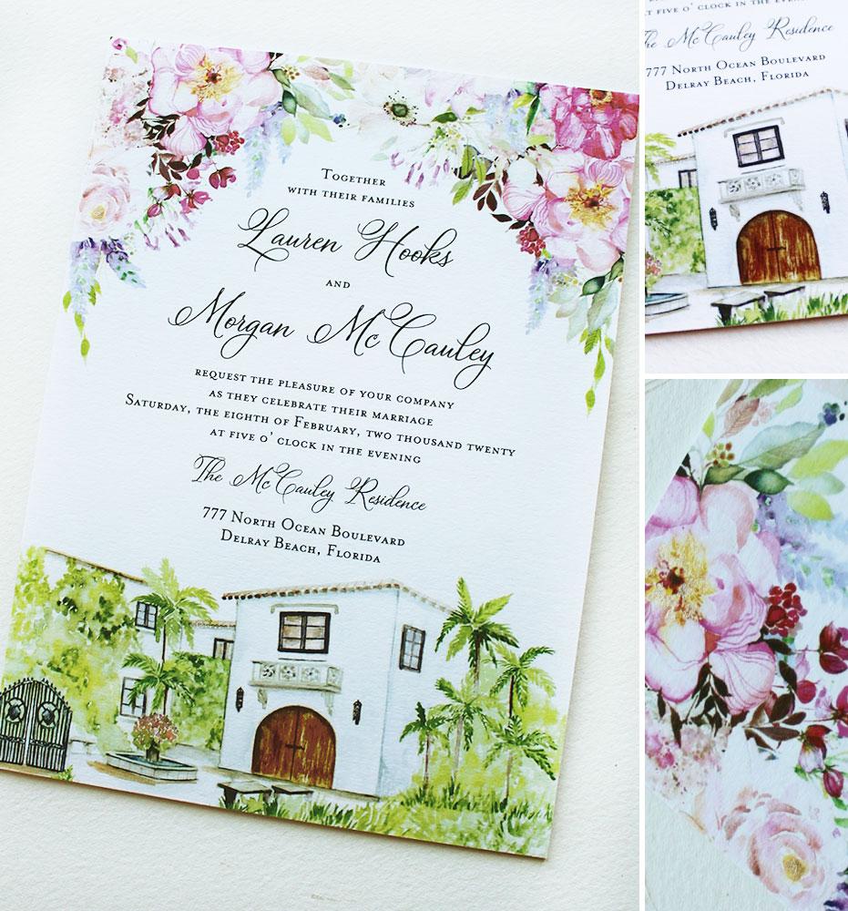 Watercolor Floral and Venue Illustration Wedding Invitation