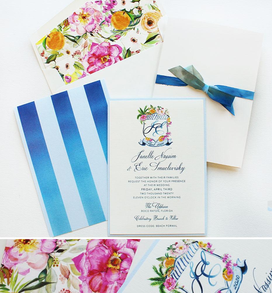 Watercolor Floral Crest Wedding Invitations