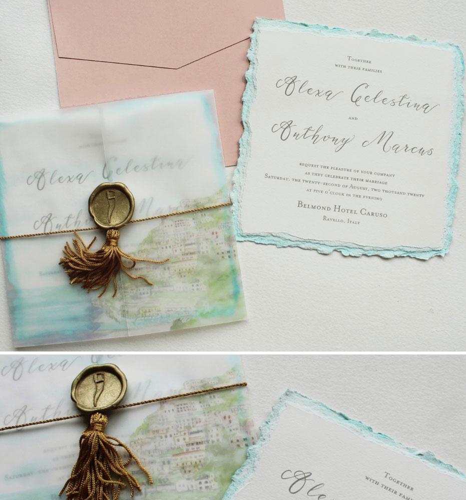 Watercolor Italian Wedding Invitations