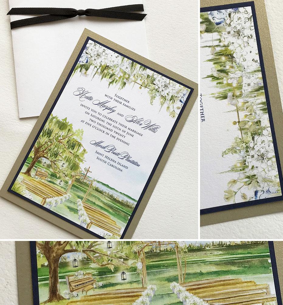 Watercolor Southern Oak Tree Wedding Invitations