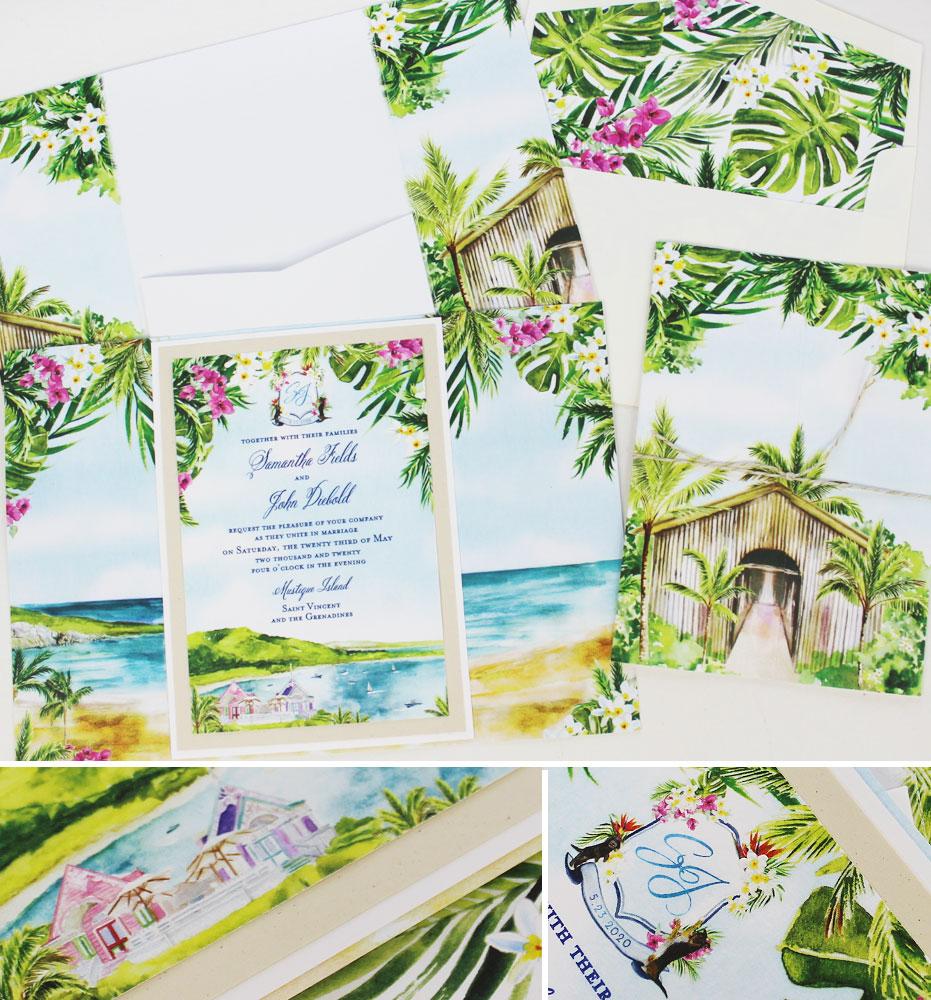Watercolor Tropical Island Wedding Invitation