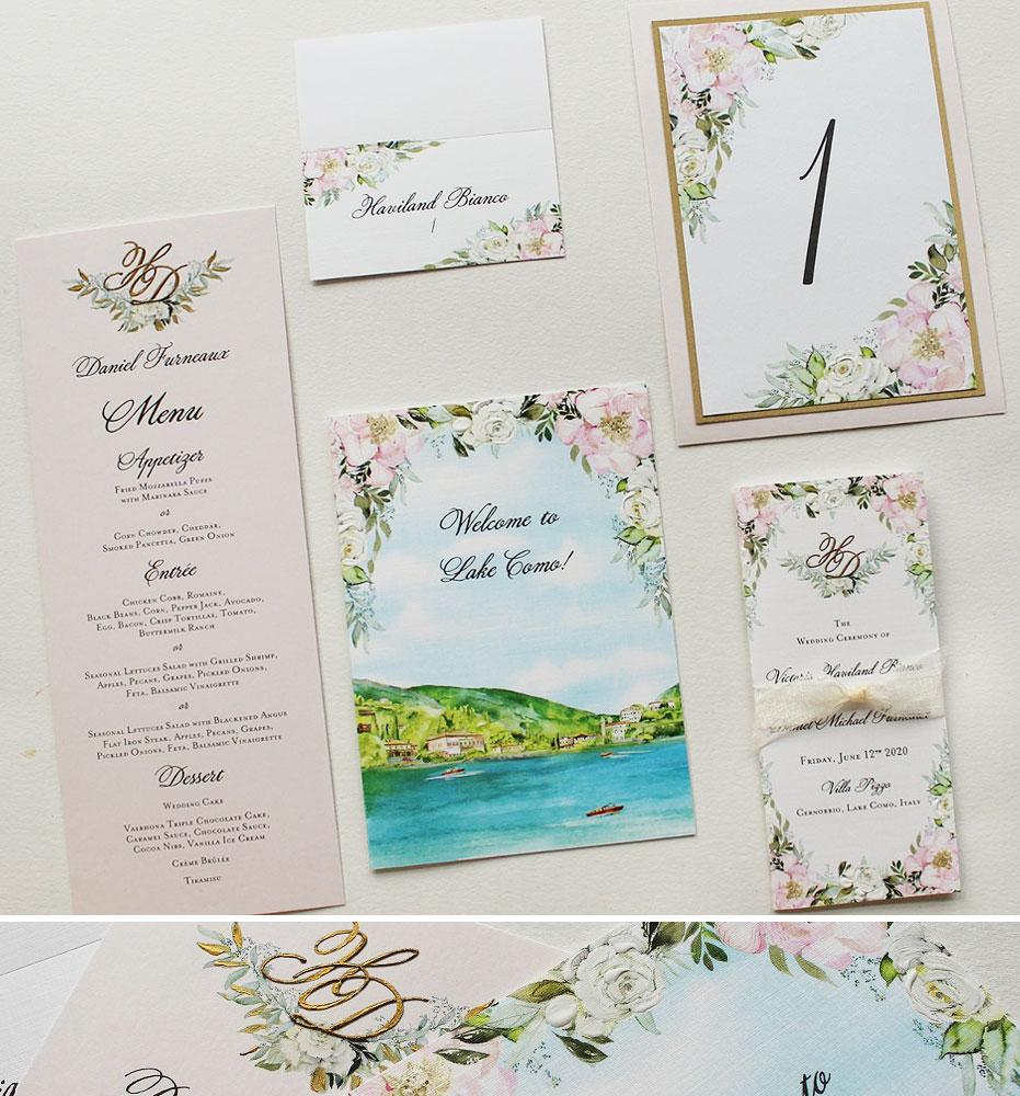 Blush Floral Wedding Stationery