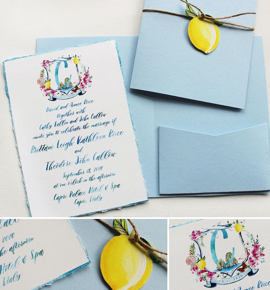 Custom Watercolor Crest Italy Wedding Invitation