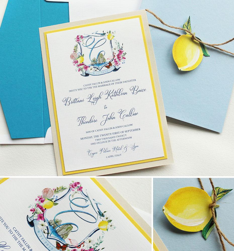 Custom Watercolor Crest Wedding Invitations