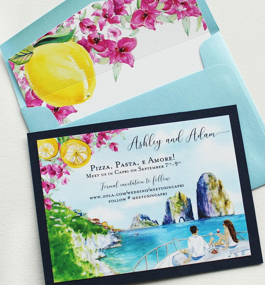 Watercolor Capri Italy Save the Dates