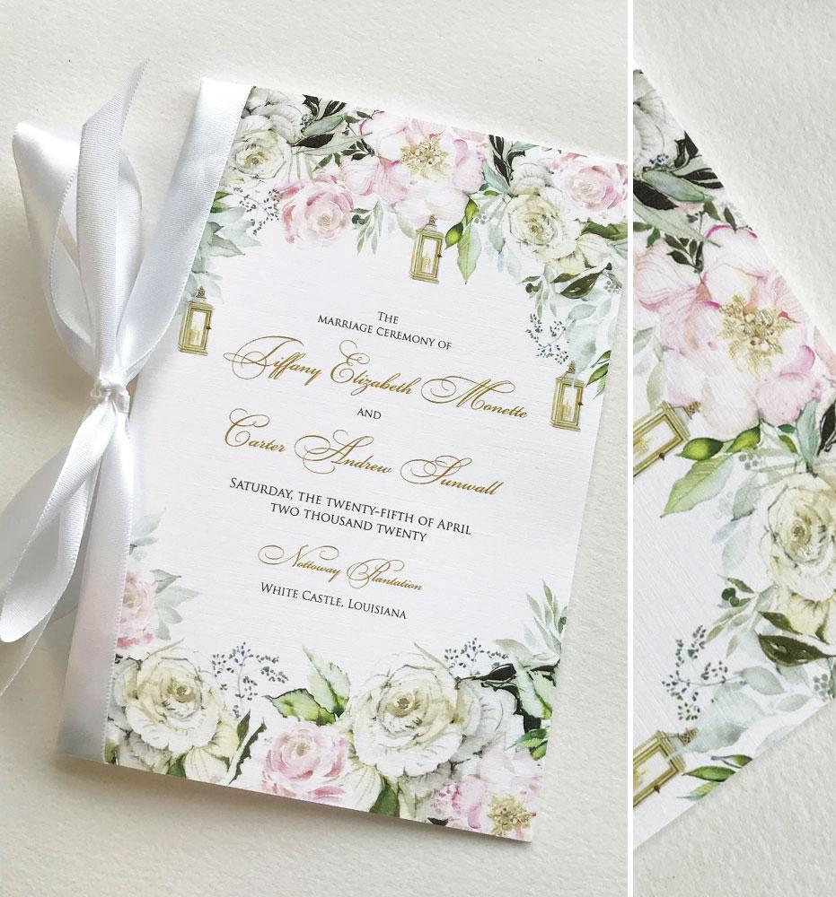 Watercolor Floral Custom Wedding Ceremony Program