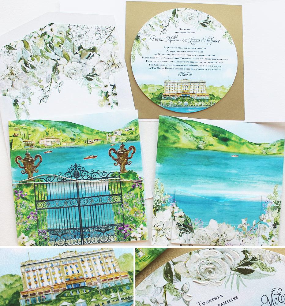 Watercolor Lake Como Wedding Invitation