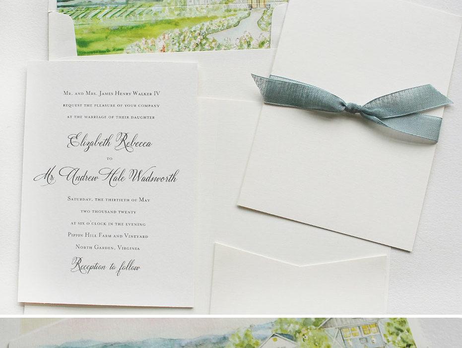 Watercolor Vineyard Wedding Invitation