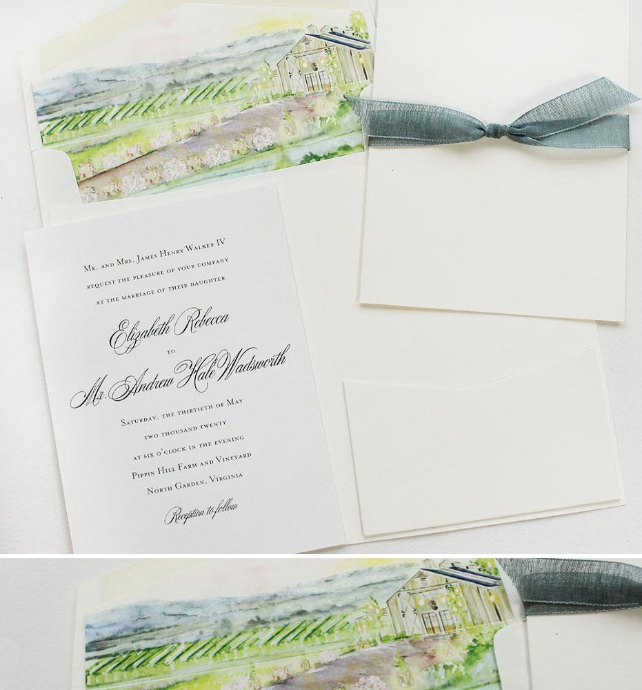 Watercolor Virginia Wedding Invitations