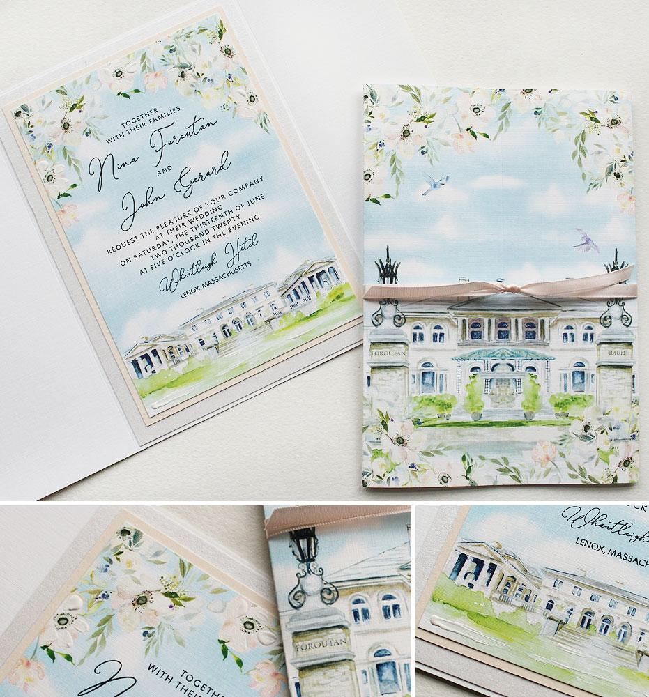Wheatleigh Hotel Custom Venue Illustration Wedding Invitations