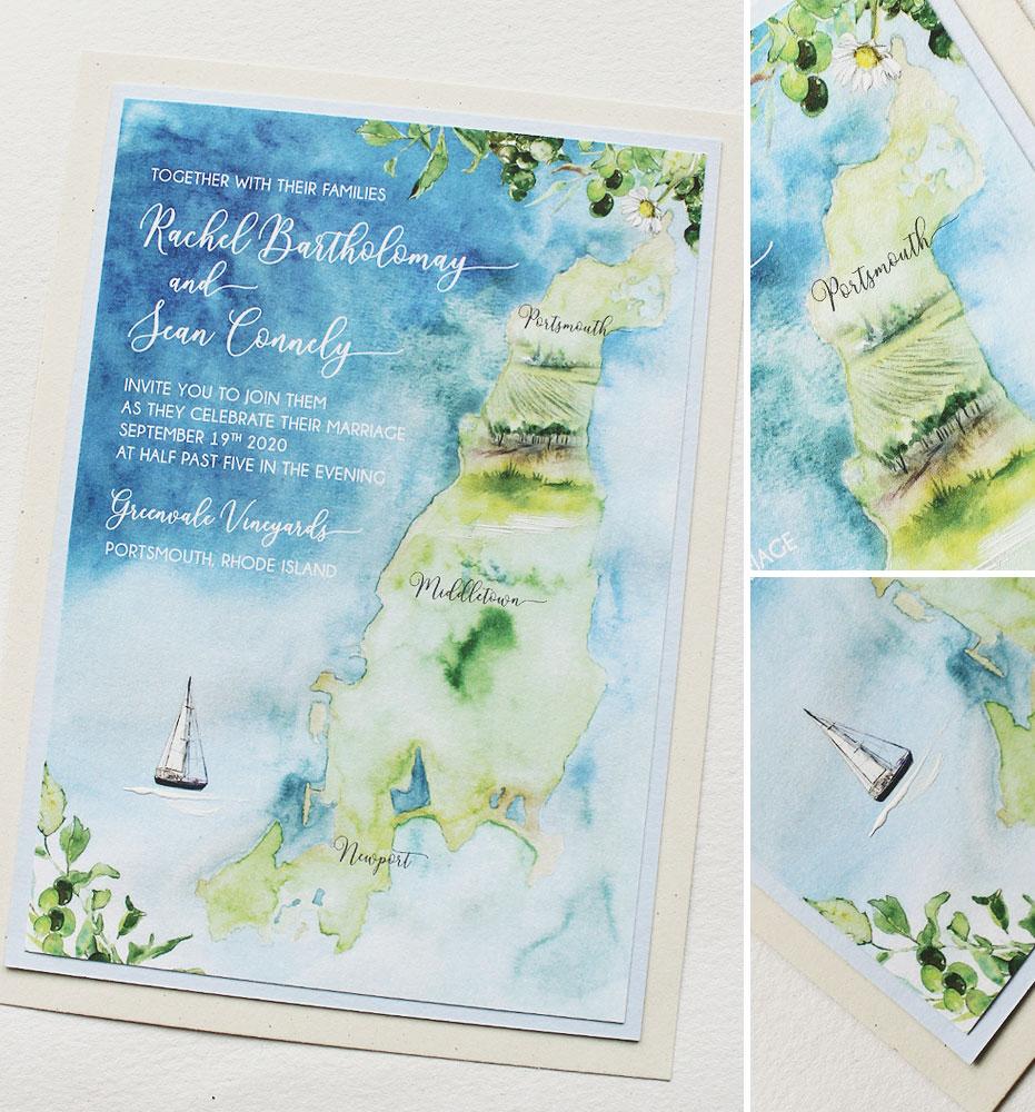 Rhode Island Watercolor Wedding Invitations