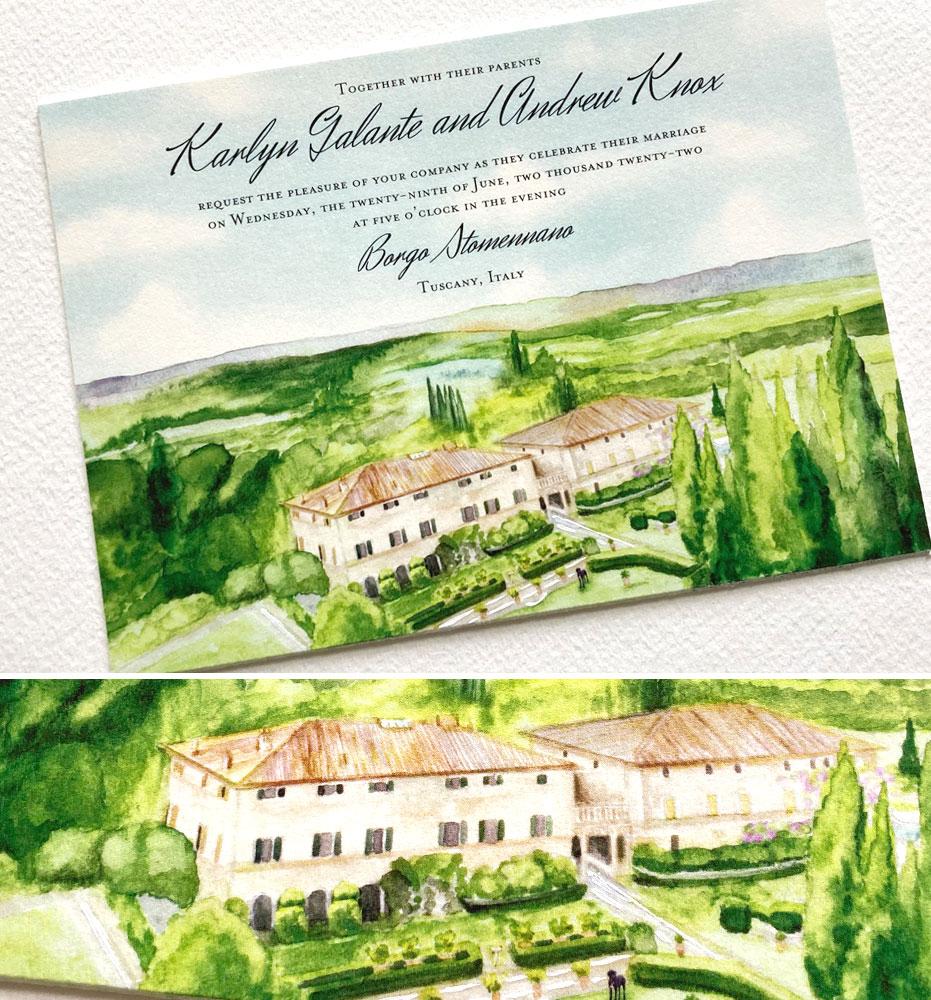 Watercolor Tuscany Wedding Invitations