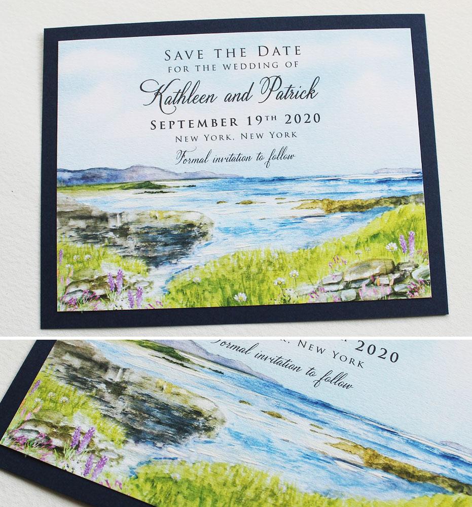 Watercolor Coastal Landscape Wedding Save the Date