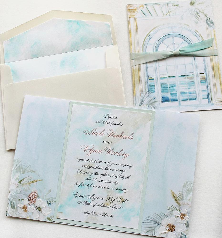 Soft Watercolor Ocean Wedding Invitations