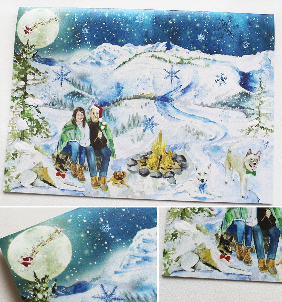 Watercolor Winter Landscape Christmas Card