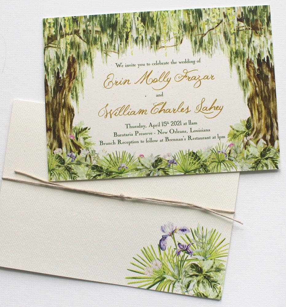 Watercolor Live Oak Tree Southern Wedding Invitations