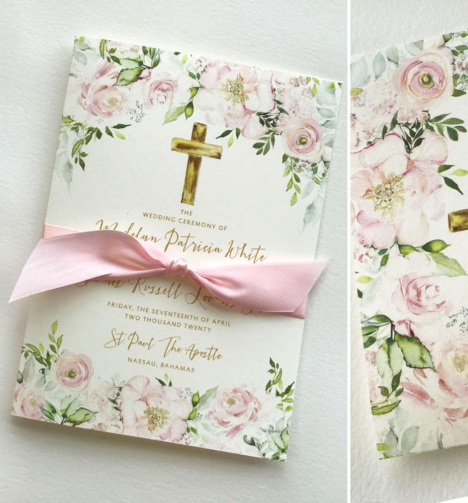 Blush Floral Wedding Programs
